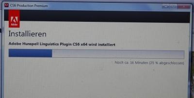 Screenshot der Adobe-Installation