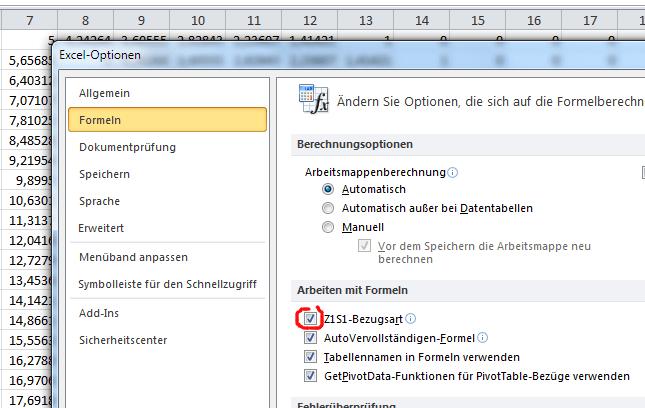 Excel: Spaltenbezeichnung von Buchstaben in Zahlen ändern
