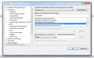 Screenshot Tastenkürzel zuweisen in Visual Studio