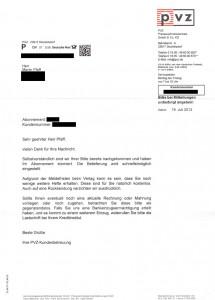 Trickbetrug am Telefon: Erhaltener Brief nach Abschicken des Widerrufs